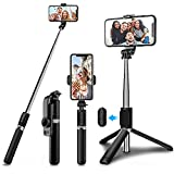 Bluetooth Selfie Stick Tripod,Extendable Selfie Stick(103cm) with 360°Rotation Phone Tripod Stand with Wireless Remote,Small Camera and Smartphones(3.5-6.2 inch)