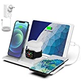 NANAMI Kabelloses Ladestation, QI Wireless Charger, 5 in 1 drahtlose Ladegerät (mit 36W DC Netzteil) für Apple Watch 6/5/4/3/2, AirPods Pro, iPhone 13/12//11/XS Max/XR/X/8/8 Plus,Galaxy S21/S20/S10/S9